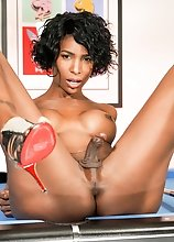 Watch black tgirl superstar Natassia Dreams getting fucked by a machine in this hot solo scene!