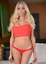 Kimber James is back and exposes her hot body and proceeds to play with her tight t-girl box