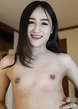 Natural tits Thai ladyboy sucks off a big white tourist cock