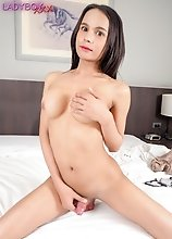 Busty ladyboy Daisy got a tight body that you would want to lay your hands on! She looks horny and excited in this hot solo scene!
