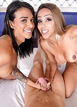 Latina tgirls Kelly Portela and Julia Alves in POV hardcore threesome!